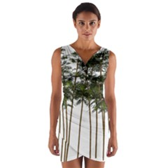 Bamboo Plant Wellness Digital Art Wrap Front Bodycon Dress