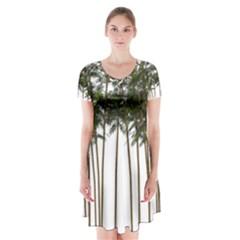 Bamboo Plant Wellness Digital Art Short Sleeve V Neck Flare Dress
