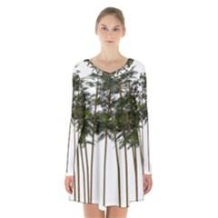 Bamboo Plant Wellness Digital Art Long Sleeve Velvet V Neck Dress