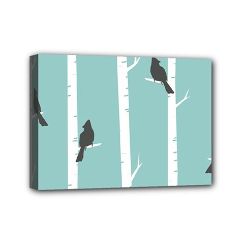 Birds Trees Birch Birch Trees Mini Canvas 7  X 5