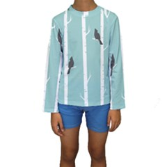 Birds Trees Birch Birch Trees Kids  Long Sleeve Swimwear