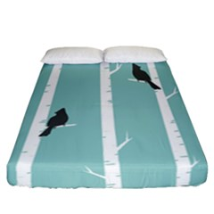 Birds Trees Birch Birch Trees Fitted Sheet (california King Size)