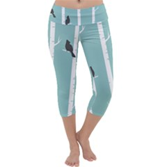 Birds Trees Birch Birch Trees Capri Yoga Leggings