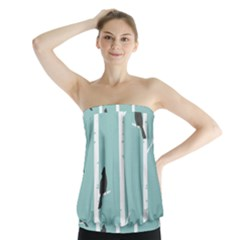 Birds Trees Birch Birch Trees Strapless Top