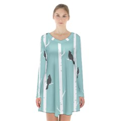 Birds Trees Birch Birch Trees Long Sleeve Velvet V Neck Dress