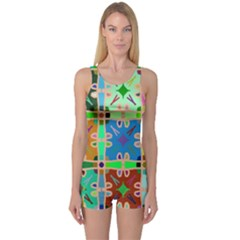Abstract Pattern Background Design One Piece Boyleg Swimsuit