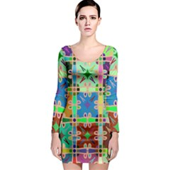 Abstract Pattern Background Design Long Sleeve Bodycon Dress