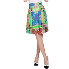 Abstract Pattern Background Design A Line Skirt