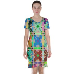 Abstract Pattern Background Design Short Sleeve Nightdress