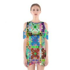 Abstract Pattern Background Design Shoulder Cutout One Piece