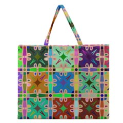 Abstract Pattern Background Design Zipper Large Tote Bag