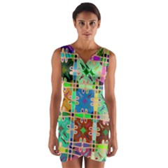 Abstract Pattern Background Design Wrap Front Bodycon Dress