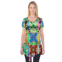 Abstract Pattern Background Design Short Sleeve Tunic