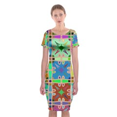 Abstract Pattern Background Design Classic Short Sleeve Midi Dress