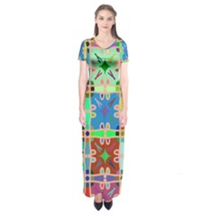 Abstract Pattern Background Design Short Sleeve Maxi Dress