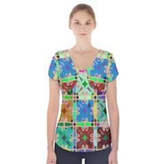 Abstract Pattern Background Design Short Sleeve Front Detail Top