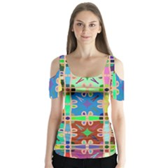 Abstract Pattern Background Design Butterfly Sleeve Cutout Tee