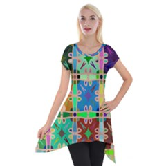 Abstract Pattern Background Design Short Sleeve Side Drop Tunic