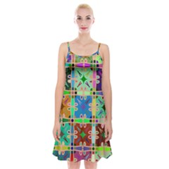 Abstract Pattern Background Design Spaghetti Strap Velvet Dress