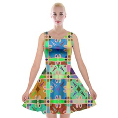 Abstract Pattern Background Design Velvet Skater Dress