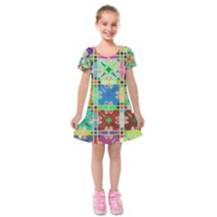 Abstract Pattern Background Design Kids  Short Sleeve Velvet Dress