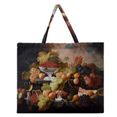 Abundance Of Fruit Severin Roesen Zipper Large Tote Bag
