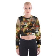 Abundance Of Fruit Severin Roesen Women s Cropped Sweatshirt