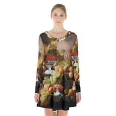 Abundance Of Fruit Severin Roesen Long Sleeve Velvet V Neck Dress