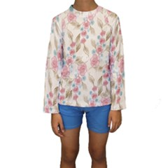 Background Page Template Floral Kids  Long Sleeve Swimwear