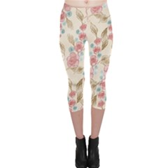 Background Page Template Floral Capri Leggings