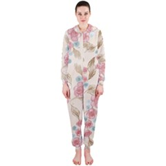 Background Page Template Floral Hooded Jumpsuit (ladies)