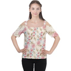 Background Page Template Floral Women s Cutout Shoulder Tee
