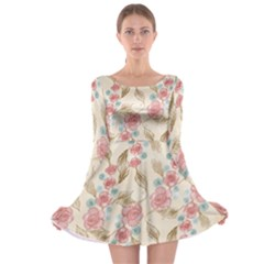 Background Page Template Floral Long Sleeve Skater Dress