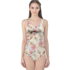 Background Page Template Floral One Piece Swimsuit