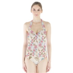 Background Page Template Floral Halter Swimsuit