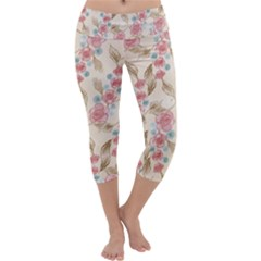 Background Page Template Floral Capri Yoga Leggings