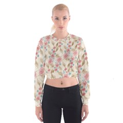 Background Page Template Floral Women s Cropped Sweatshirt