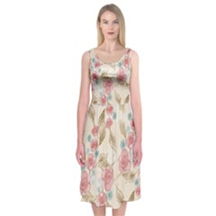 Background Page Template Floral Midi Sleeveless Dress