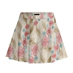 Background Page Template Floral Mini Flare Skirt