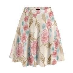 Background Page Template Floral High Waist Skirt