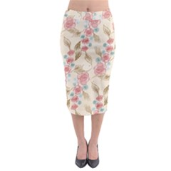 Background Page Template Floral Midi Pencil Skirt