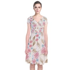 Background Page Template Floral Short Sleeve Front Wrap Dress