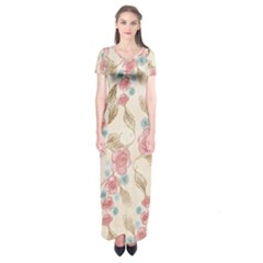 Background Page Template Floral Short Sleeve Maxi Dress