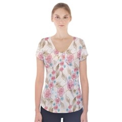 Background Page Template Floral Short Sleeve Front Detail Top