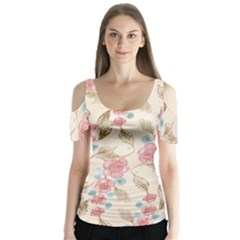 Background Page Template Floral Butterfly Sleeve Cutout Tee
