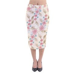 Background Page Template Floral Velvet Midi Pencil Skirt