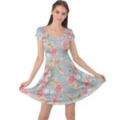 Background Page Template Floral Cap Sleeve Dresses