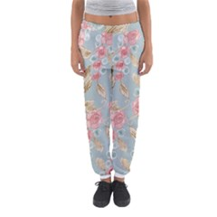 Background Page Template Floral Women s Jogger Sweatpants