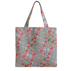 Background Page Template Floral Zipper Grocery Tote Bag