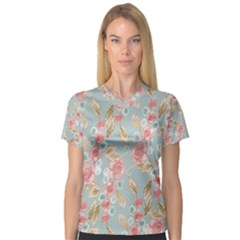 Background Page Template Floral Women s V Neck Sport Mesh Tee
